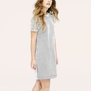 Lou & Grey windowpane short sleeve dress XS